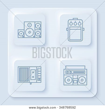 Set Line Stereo Speaker, Guitar Pedal, Music Tape Player And Home Stereo With Two Speakers. White Sq