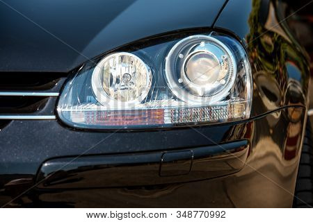 Car Headlight With Shallow Depth Of Field.