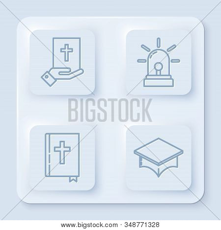 Set Line Oath On The Holy Bible, Flasher Siren, Holy Bible Book And Graduation Cap. White Square But