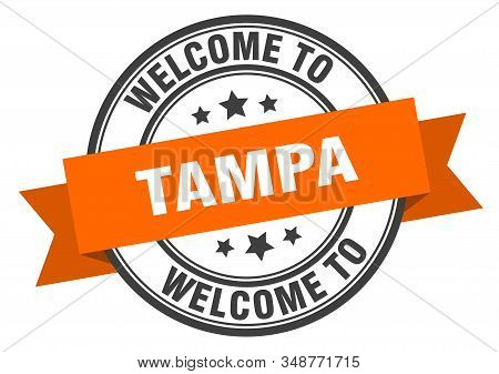Tampa Stamp. Welcome To Tampa Orange Sign