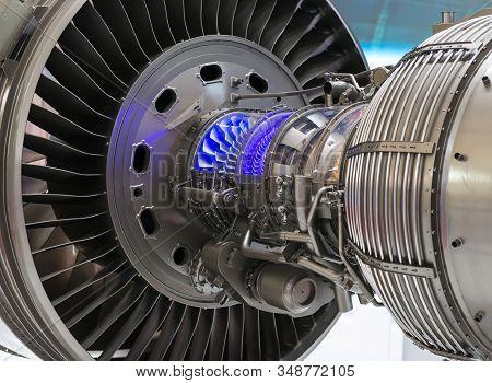 Plane Engine Element. Turbine Blades. Blue Light