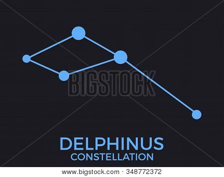 Delphinus Constellation. Stars In The Night Sky. Cluster Of Stars And Galaxies. Constellation Of Blu