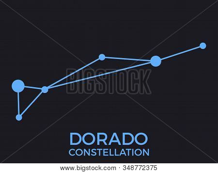 Dorado Constellation. Stars In The Night Sky. Cluster Of Stars And Galaxies. Constellation Of Blue O