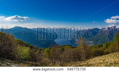 Lake Como And Surrounding Mountains As Seen From Hiking Trail To Corni Di Canzo, Lombardy, Italy