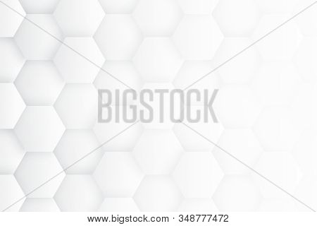 Minimalist White Abstract Background. High Technology 3d Hexagons. Scientific Technologic Three Dime