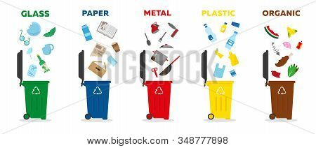 Different Types Of Waste: Glass, Paper, Metal, Plastic And Organic. Colored Rubbish Bins For Waste S
