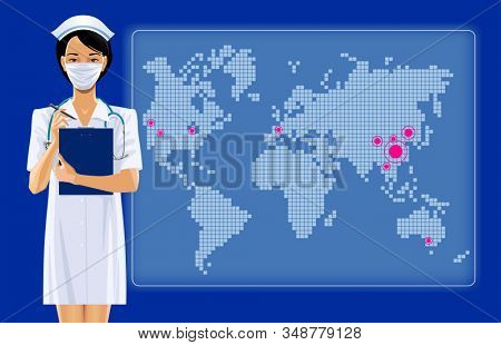 Asian nurse girl in surgical mask and medical uniform against the electronic world map