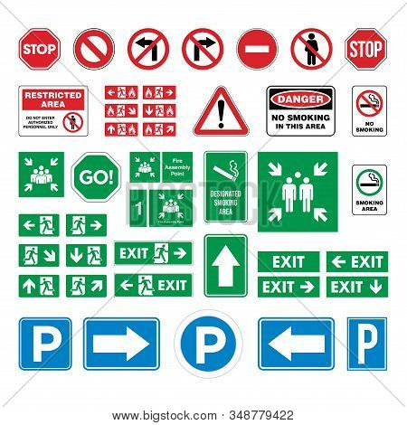 Set Street Sign, Evacuate Sign, Smoking Area / No Smoking Sign, Parking Sign, Stop, Fire Assembly Po