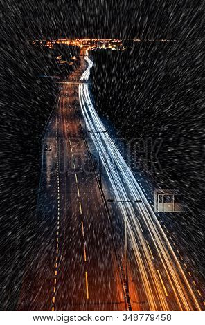 winter driving on highway at night
