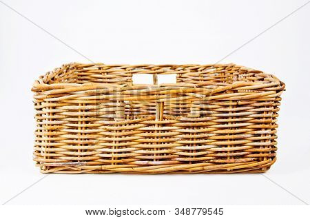 Square empty wicker basket white