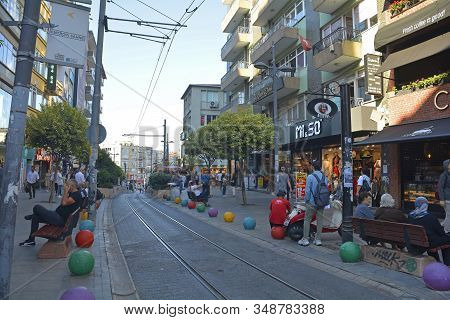 Istanbul, Turkey - September 17th 2019. A Busy High Street In The Moda District Of Kadikoy On The As