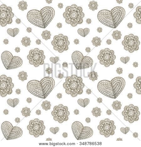 Watercolor Seamless Pattern Hobby Crochet Flowers And Heart. Collection Of Hand Drawn Gray Colors Fl