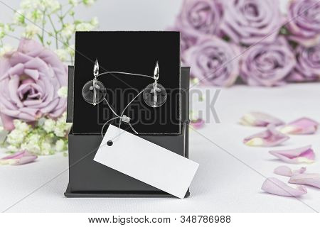 Luxury Elegant Stylish Earrings Made Of White Metal (silver, Platinum Or Rhodium) With Natural Rock-