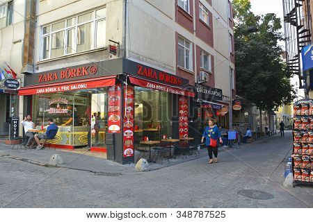 Istanbul, Turkey - September 18th 2019. Customers Enjoy A Meal Outside A Borek And Pide Fast Food Re