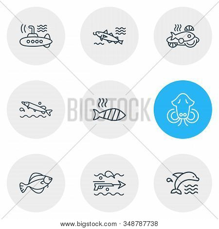 Vector Illustration Of 9 Sea Icons Line Style. Editable Set Of Dolphin, Submarine, Cod Fish And Othe