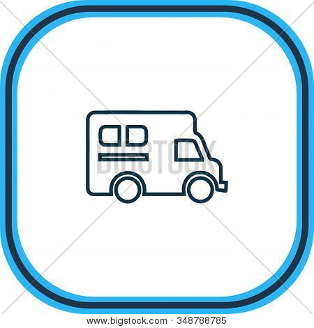Vector Illustration Of Campervan Icon Line. Beautiful Transport Element Also Can Be Used As Caravan