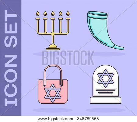 Set Tombstone With Star Of David, Hanukkah Menorah, Shopping Bag With Star Of David And Traditional
