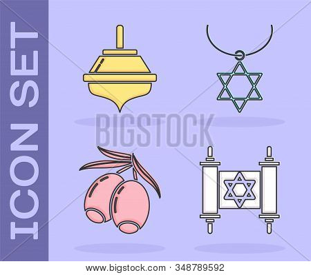 Set Torah Scroll, Hanukkah Dreidel, Olives Branch And Star Of David Necklace On Chain Icon. Vector
