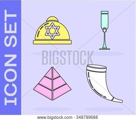 Set Traditional Ram Horn, Shofar, Jewish Kippah With Star Of David, Egypt Pyramids And Jewish Goblet