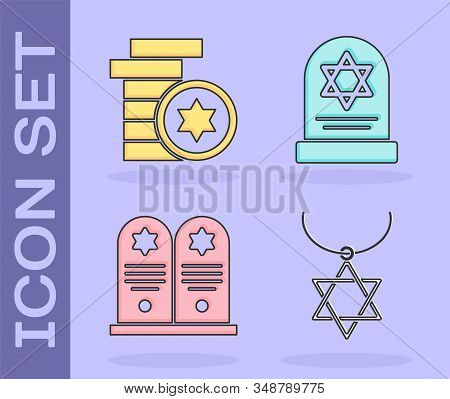 Set Star Of David Necklace On Chain, Jewish Coin, Tombstone With Star Of David And Tombstone With St