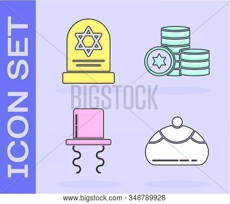 Set Jewish Sweet Bakery, Tombstone With Star Of David, Orthodox Jewish Hat With Sidelocks And Jewish