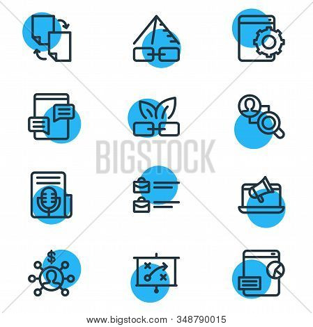 Illustration Of 12 Advertisement Icons Line Style. Editable Set Of Fresh Content, Press Release, Web