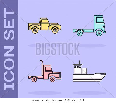 Set Cargo Ship, Pickup Truck, Delivery Cargo Truck Vehicle And Delivery Cargo Truck Vehicle Icon. Ve