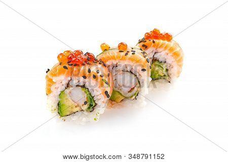 Traditional Japanese Food Sushi. Tempura Sushi Maki With Shrimp And Avocado Isolated On White Backgr