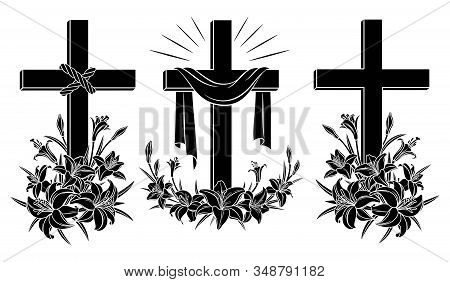Cross With Lilies. Religious Christian Easter Symbol. Set Of Crosses With Lilies  And Shroud. Easter