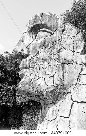 Florence, Italy - 26, March, 2016: Black And White Picture Of Human Face Sculpture Located In The Bo
