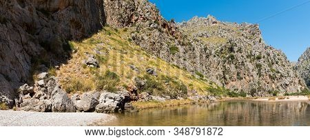 Beautiful Wide Summer Panoramic Nature Landscape. River Torrent De Pareis Between Rocky Mountains. P