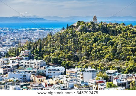 Athens Aerial View With The Sea And Filopappou Hill