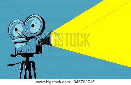Vintage Movie Projector, Film Camera. Cinematograph, Cinema Vector