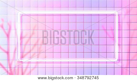 Pink Neon Rectangle Frame On White Tiles Wall. Bright Background With Naked Trees Shadow Overlay. Ba