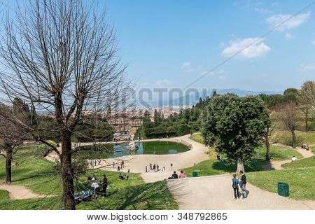 Florence, Italy - 26, March, 2016: Horizontal Picture Of Amazing View From The Top Of The Boboli Gar