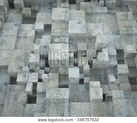 Abstract Cubic Concrete Building Wall. Modern Contemporary Architecture Background. 3d Render Illust
