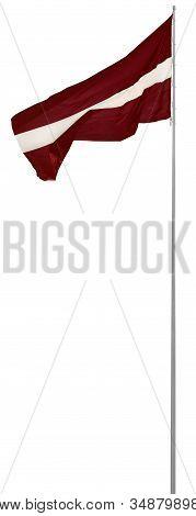 Republic Of Latvia State Flag, Isolated Latvian National Carmine Red Vivid Crimson And White Bicolou