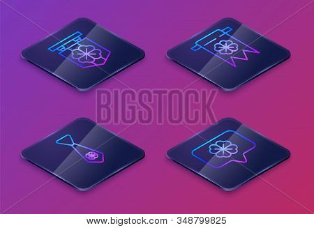 Set Isometric Line Street Signboard With Four Leaf Clover, Tie With Four Leaf Clover, Four Leaf Clov