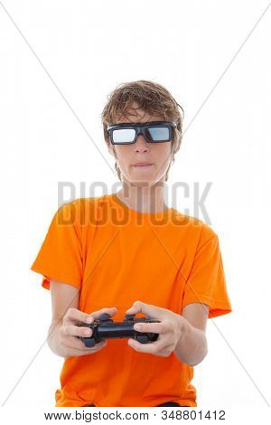 boy playing on video station play with controller