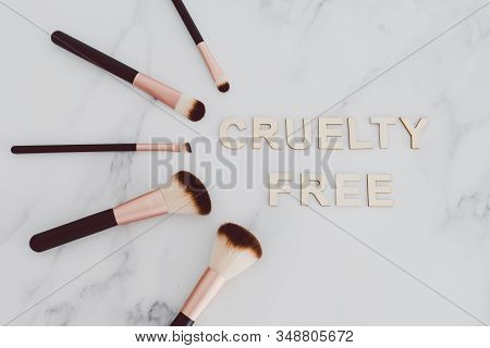 Beauty Industry And Vegan Products, Make-up Brushes With Cruelty Free Text Next To Them Referring To