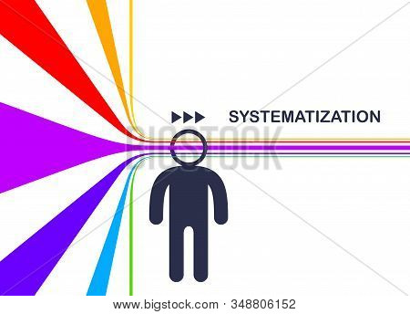 Cognition, Emotional Awareness, Data Facts Systematization Concept Vector, Man With Lines Though His
