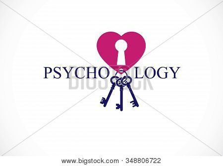 Mental Health And Psychology Conceptual Logo Or Icon, Psychoanalysis And Psychotherapy As A Key To H
