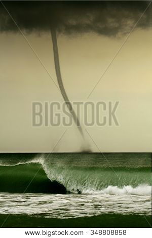Bad Weather And Storm With The Wind On The Sea. Tornado Over The Ocean, Nature Force Background - Hu