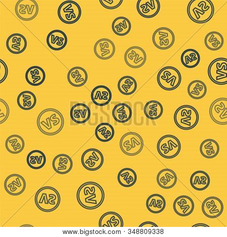 Blue Line Vs Versus Battle Icon Isolated Seamless Pattern On Yellow Background. Competition Vs Match