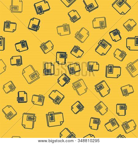 Blue Line Eps File Document. Download Eps Button Icon Isolated Seamless Pattern On Yellow Background