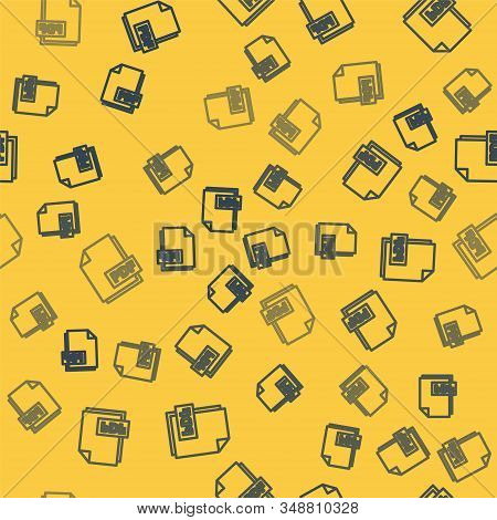 Blue Line Pdf File Document. Download Pdf Button Icon Isolated Seamless Pattern On Yellow Background