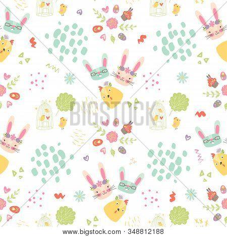 Easter Nursery Seamless Pattern With Bunnies, Birds, Eggs, Flowers, Hearts, Brush Strokes. Cartoon S