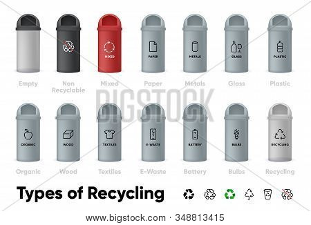 Types Of Recycling Vector Icons Set. Waste Sorting, Garbage Separation Large Collection Organic, Pap