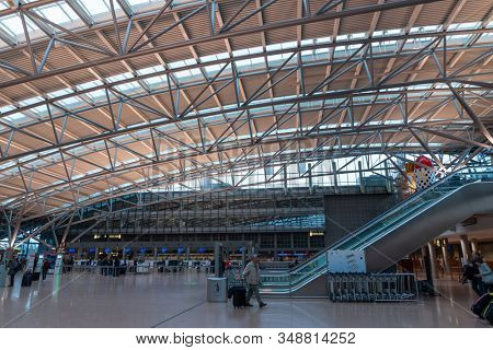 HAMBURG, GERMANY - MAY 20, 2019: Terminal 2 of Hamburg Airport  Hamburg Airport is  Germany's commercial airports