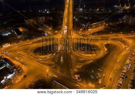 Aerial View Of The Transport Interchange At The Golden Bridge. Vladivostok, Russia